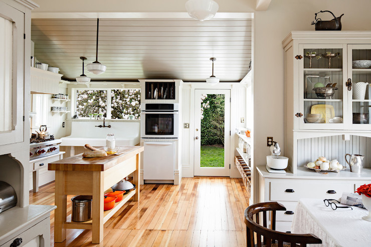Gray Plank Ceiling Transitional Kitchen Pratt And