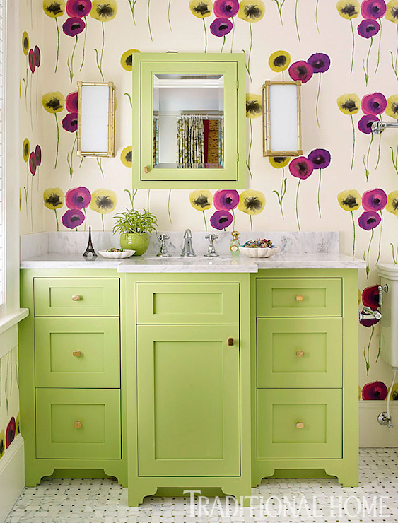 Light Green Bath Vanity Design Ideas