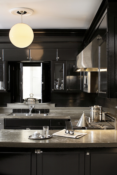 Black Lacquer Cabinets Eclectic Kitchen Leo Designs Chicago
