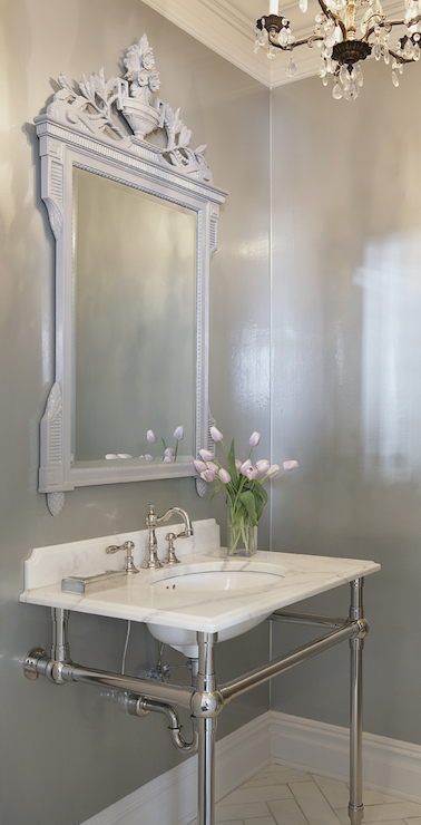 White And Gray Powder Room With Yellow And Blue Abstract Art Transitional Bathroom