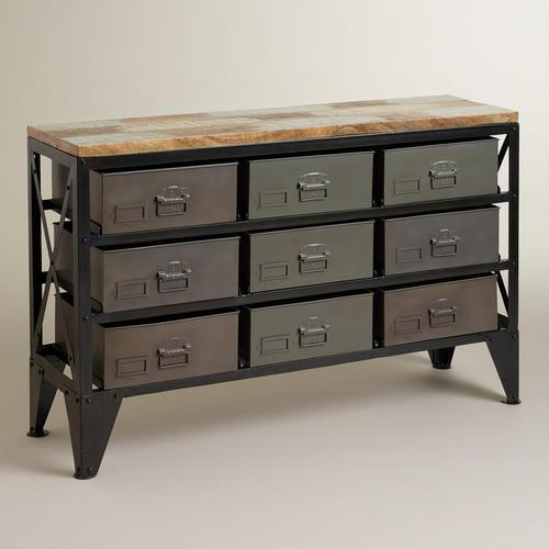 & Zarina Metal Bin Grey Console Table