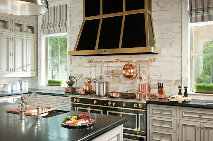 Black and gold kitchen hood transitional kitchen atlanta homes li - Table de cuisine ancienne ...