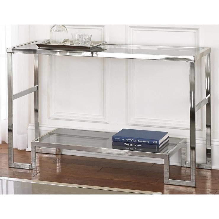 Cordele Silver Chrome and Glass Sofa Table