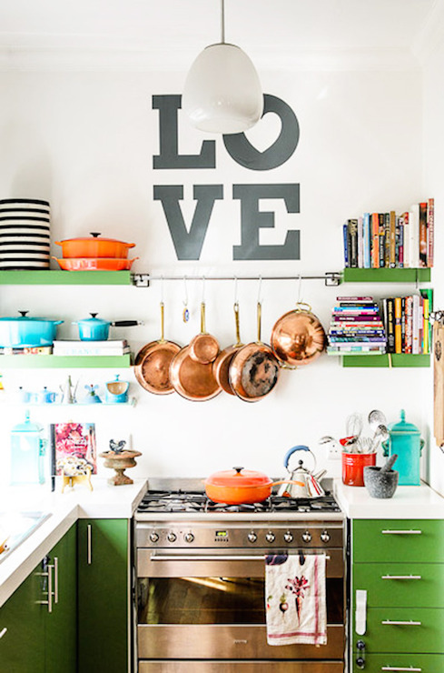 green kitchen cabinets - Eclectic Kitchen Cabinets