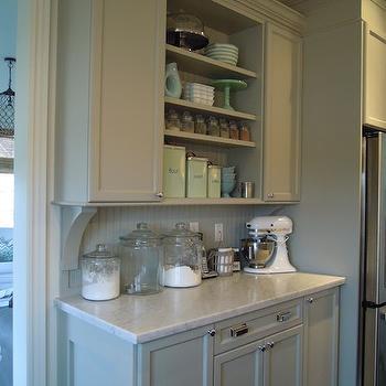 Gray Beadboard, Transitional, kitchen, Martha Stewart Bedford Gray, Chris Kaufmann