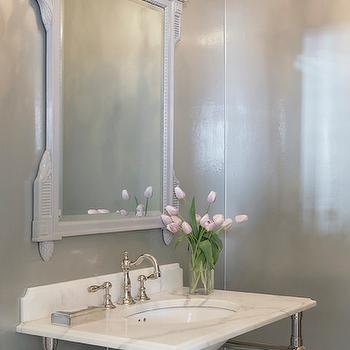 White Baroque Floor Mirror. Powder Room Mirrors White Baroque Floor ...