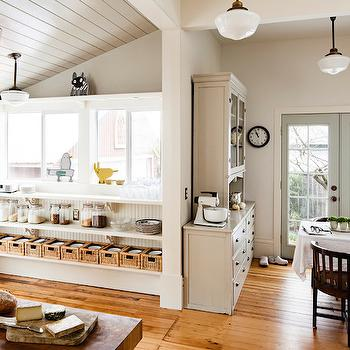 Gray Paneled Ceiling, Transitional, kitchen, Pratt and Lambert Chalk Gray, Vicki Simon Interior Design