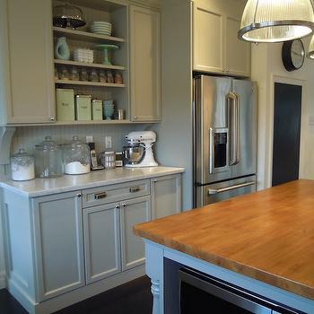 Ikea Wood Countertops, Transitional, kitchen, Martha Stewart Bedford Gray, Chris Kaufmann