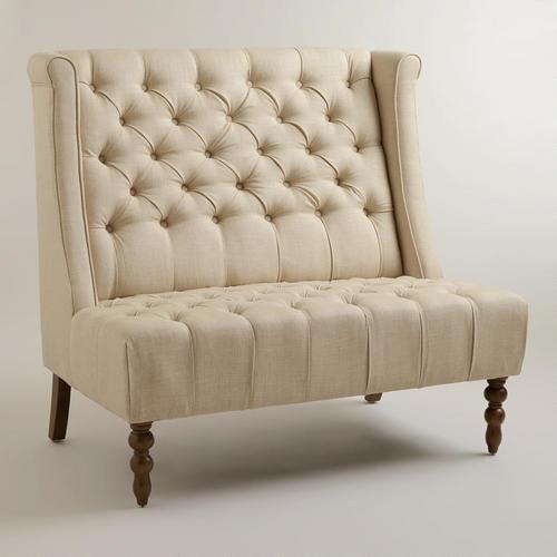 linen high back cream settee