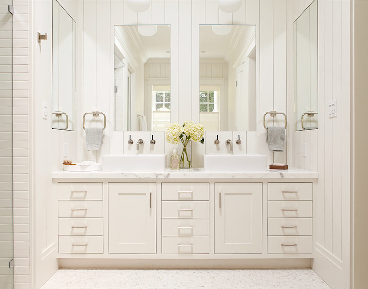 Mirrored Bathroom Cabinet Double Doors Bath Wall Mounted Storage Furniture White: Transitional