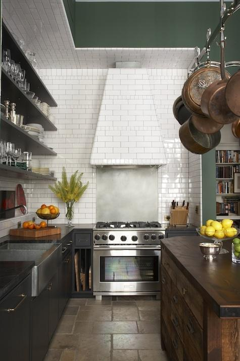Subway Tiled Range Hood Contemporary Kitchen