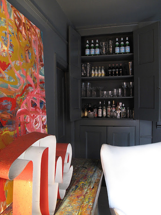 Hidden Living Room Bar Design Ideas
