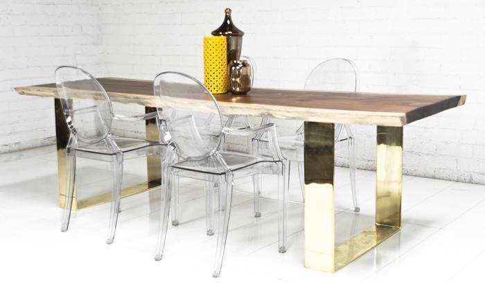 Fat Brass U Leg Eco Slab Clear Dining Table