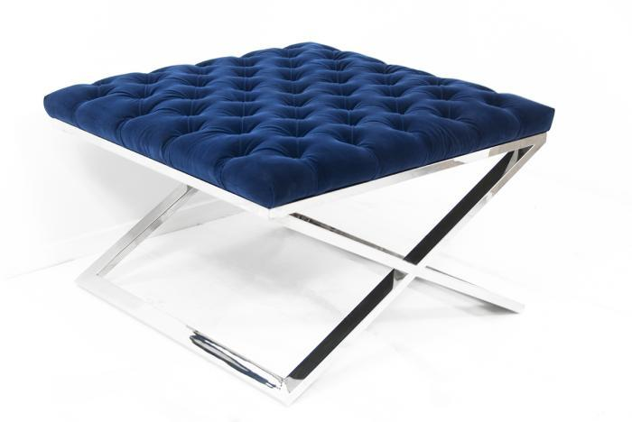 Ideal Tufted X-Base Blue Ottoman LT56