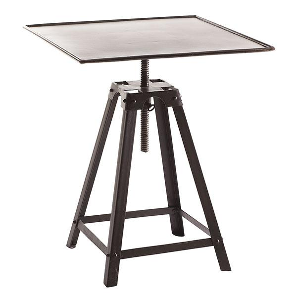 French Industrial Bronze End Table