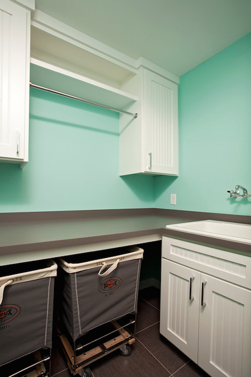 Tiffany Blue Laundry Room Transitional Laundry Room