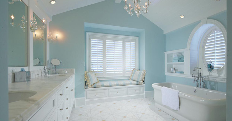 Master bathroom window seat traditional bathroom for Bathroom ideas light blue