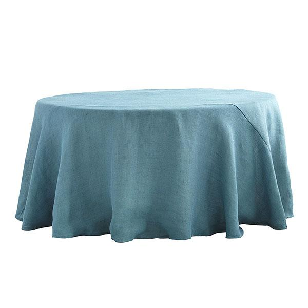 Round Burlap Dusty Blue Tablecloth