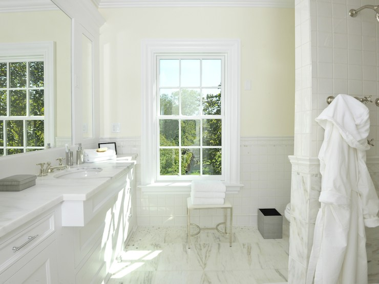 enchanting light yellow bathroom   Half Tiled Walls - Transitional - bathroom - Sotheby's Realty