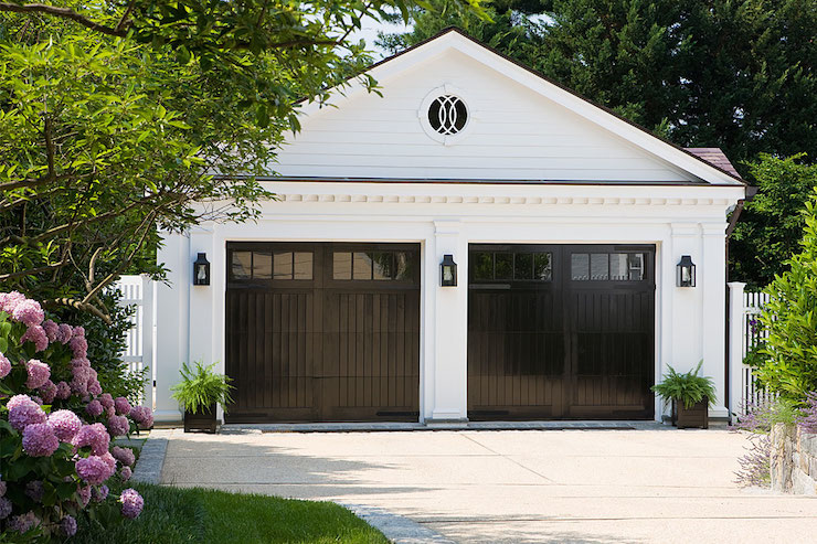 dark brown garage doorsBlack Garage Doors  Traditional  garage  Anne Decker Architects