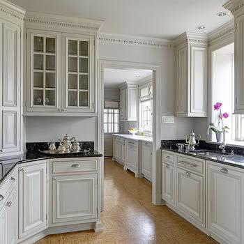 Black crown molding design ideas for White kitchen cabinets with crown molding