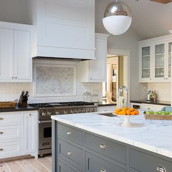 Gray Island, Transitional, kitchen, Fiorella Design