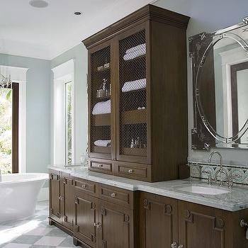 Chocolate brown bathroom cabinets design ideas for Chocolate brown cabinets