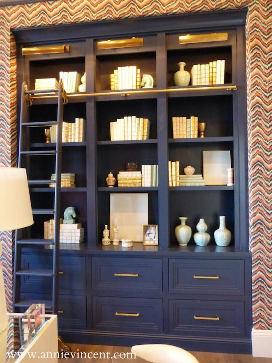 Navy Blue Built Ins Contemporary Den Library Office