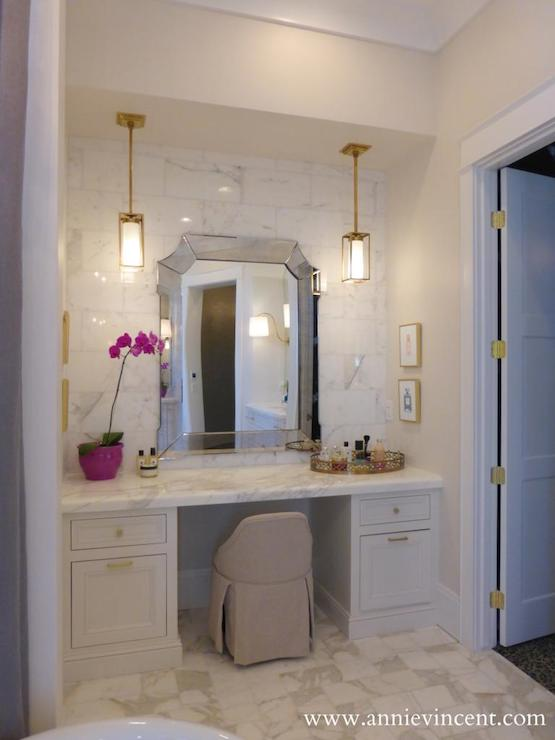 Built In Makeup Vanity Transitional Bathroom John B