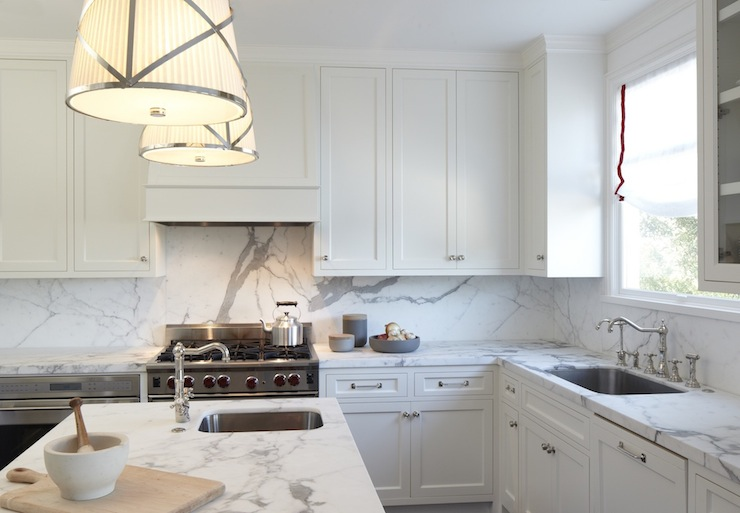 Statuary Marble Backsplash Transitional Kitchen