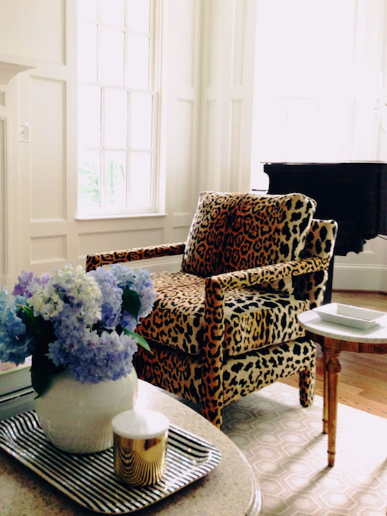Stunning Living Room With Leopard Chairs Paired With Round Coffee Table  Atop David Hicks Hex Rug.