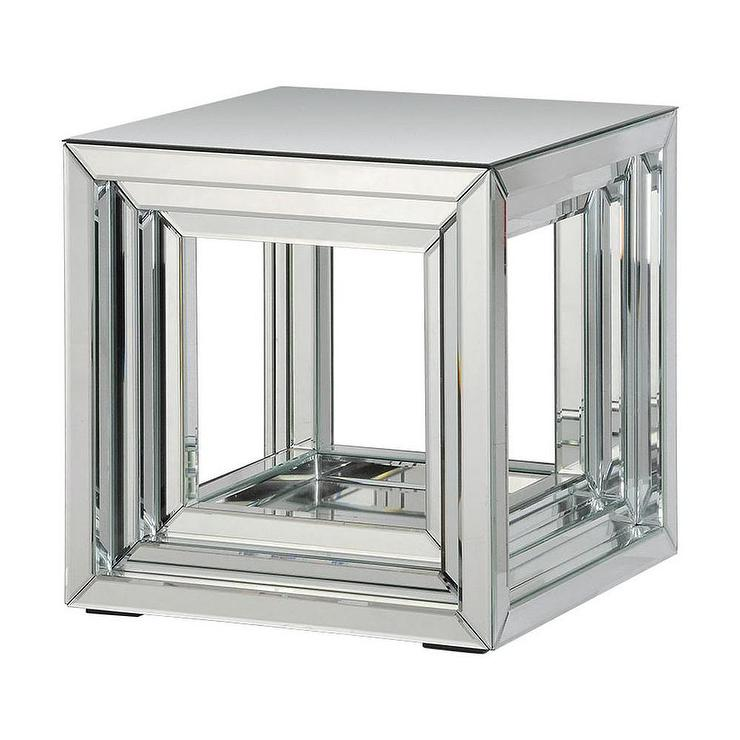 Side Table Silver Mirror Accent Table