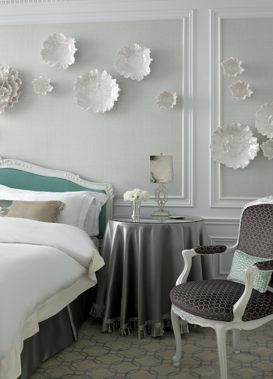 Tiffany Blue Headboard Transitional Bedroom The St