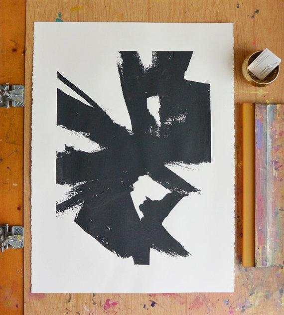 Abstract sketch 1 large dark grey and black print