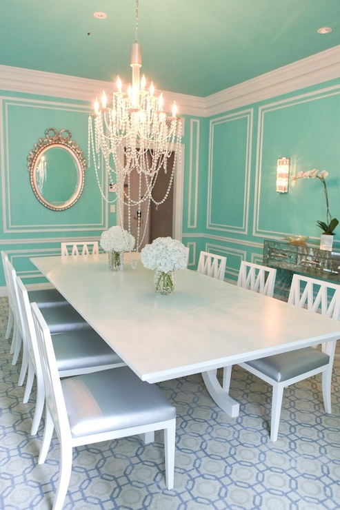 Tiffany blue walls transitional dining room the st for Tiffany blue living room ideas