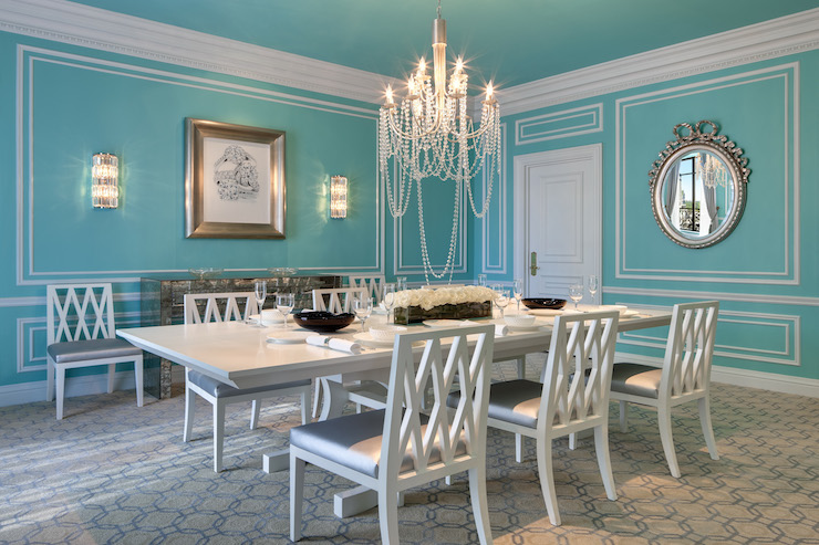 Tiffany blue dining room transitional dining room for Makeup by tiffany d dining room