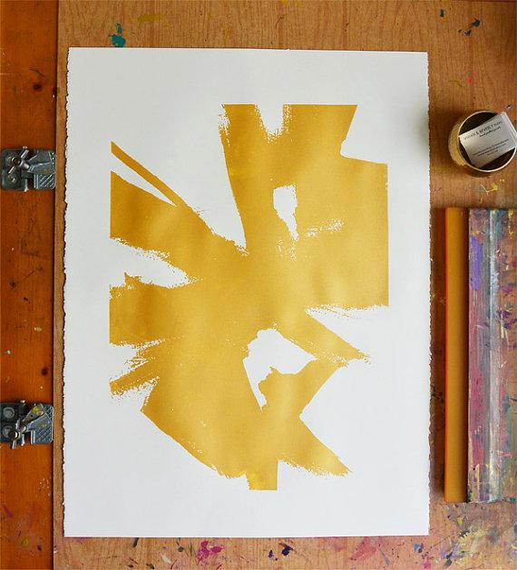 Abstract Sketch 1 Large Gold Print