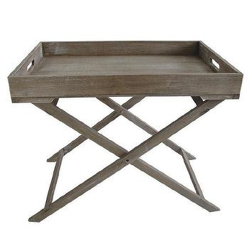 Distressed Wood Graywash Tray Table