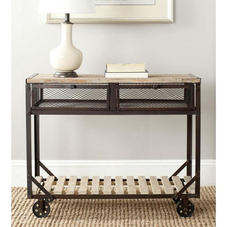 shroder natural rolling whitewash console table