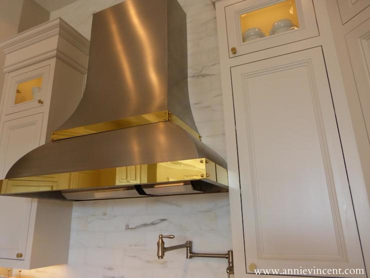 Brass Trimmed Kitchen Hood Transitional Kitchen