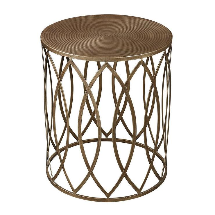 Pottery Barn Coffee Table Canada: Antique Gold Finish Round Metal Accent Table
