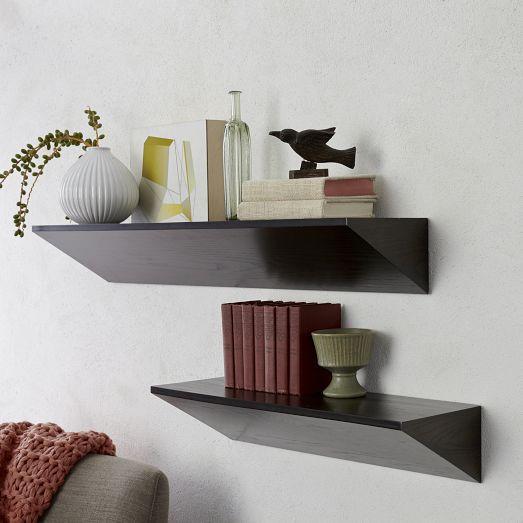Brown Reclaimed Wood Hanging Floating Shelf