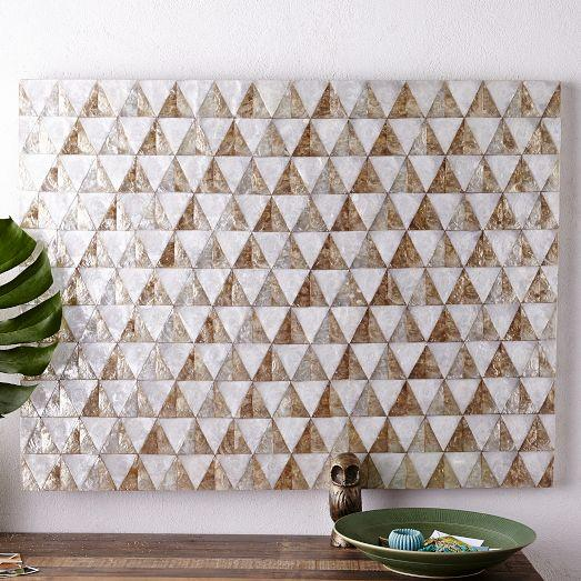 White And Gold Capiz Wall Art