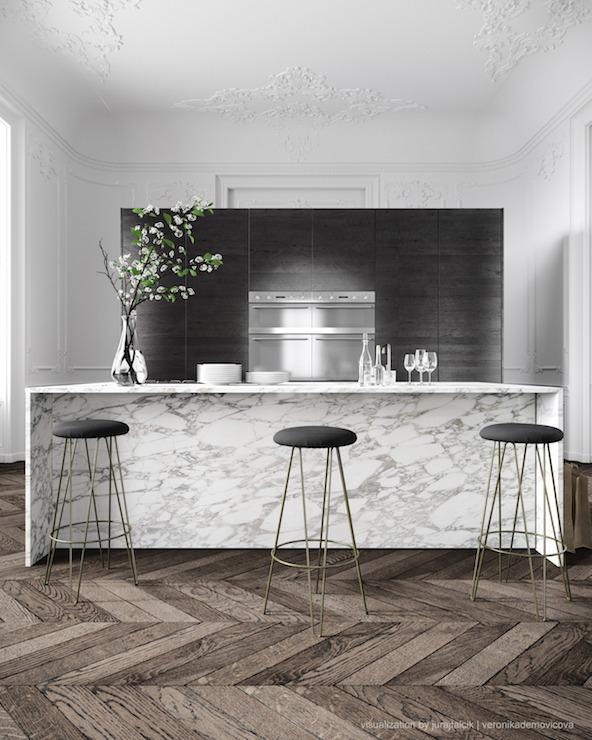 Kitchen island with sink dishwasher - Waterfall Edge Countertop Design Ideas