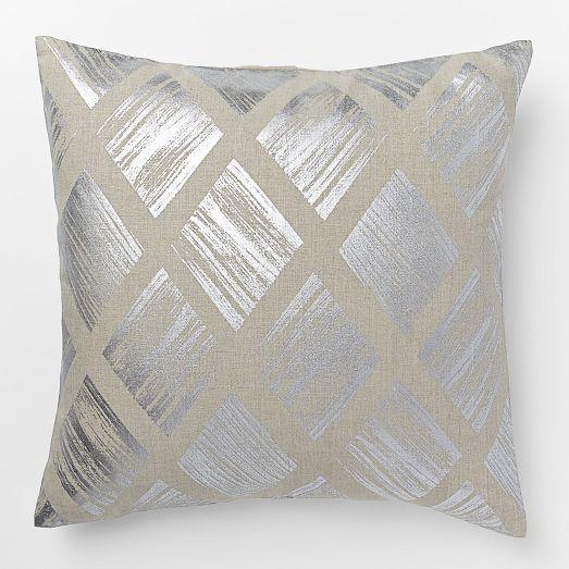 Metallic Diamond Pillow Cover Silver West Elm