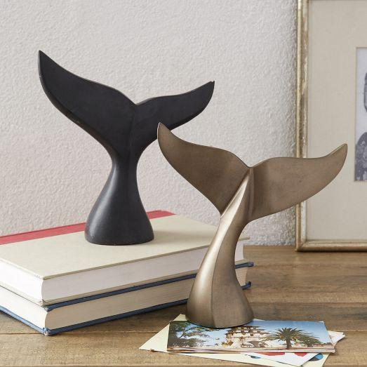 BLack and Brass Whale Tail Sculptures