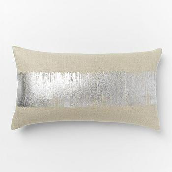 Metallic Ikat Stripe Pillow Cover Silver, West Elm