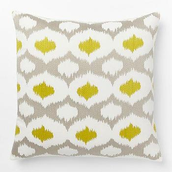 Velvet Ikat Embroidered Ogee Pillow Cover, West Elm