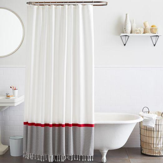 Grey And Red Stripe Border Shower Curtain