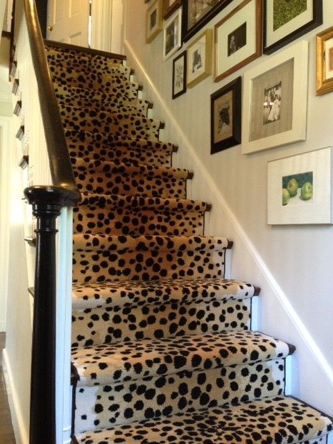 Cheetah Stair Runner Transitional Entrance Foyer